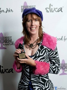 Me with my Honorable Mention Feminist Porn Award. Pic by ToTheTProductions